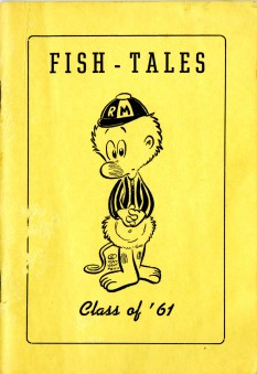 Cover of 1957-1958 Fish-Tales, the R-MC Student handbook, with cartoon Pogo drawing
