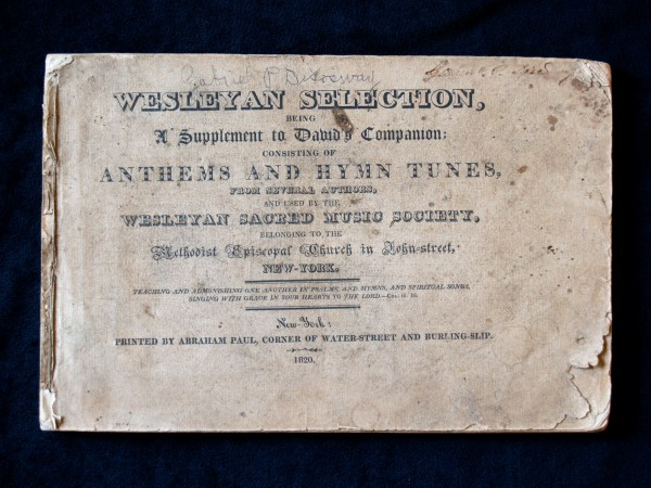 Title page of Wesleyans Selections, a rare hymnal dated 1829.