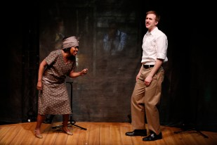 Jennifer Leigh Warren and Justin Flagg in LONESOME TRAVELER at 59E59 Theaters. Photos by Carol Rosegg