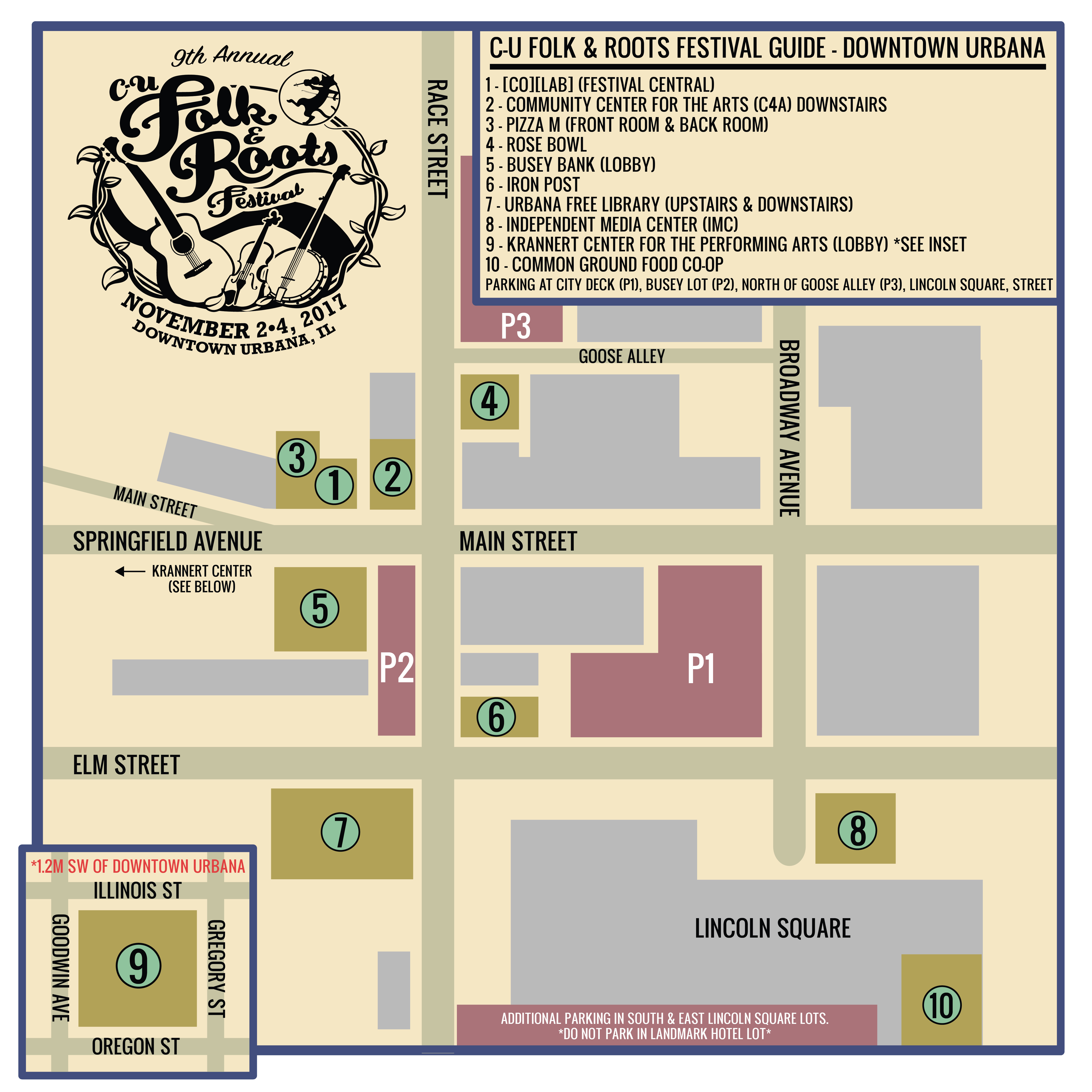 Festival Map 2017 CU FOLK AND ROOTS FESTIVAL