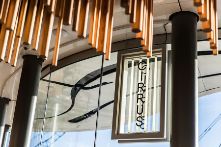 Custom lighting signage at Cirrus restaurant Barangaroo, by Folke Army