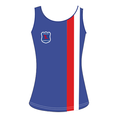 New vests are blue with a red stripe and a white stripe, running the full height just left of centre, with the club logo on the right breast.
