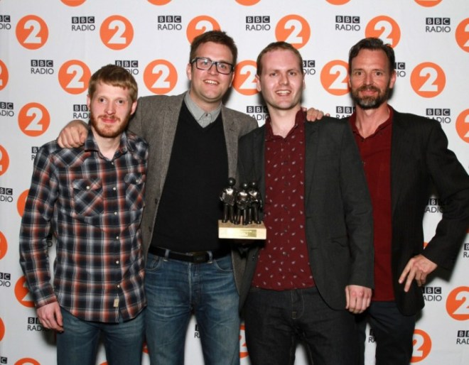 THE YOUNG'UNS, winners of the BBC Radio 2 Folk Awards 2015 - Best Group with Tim Dowling of The Guardian. Photo courtesy of the BBC.