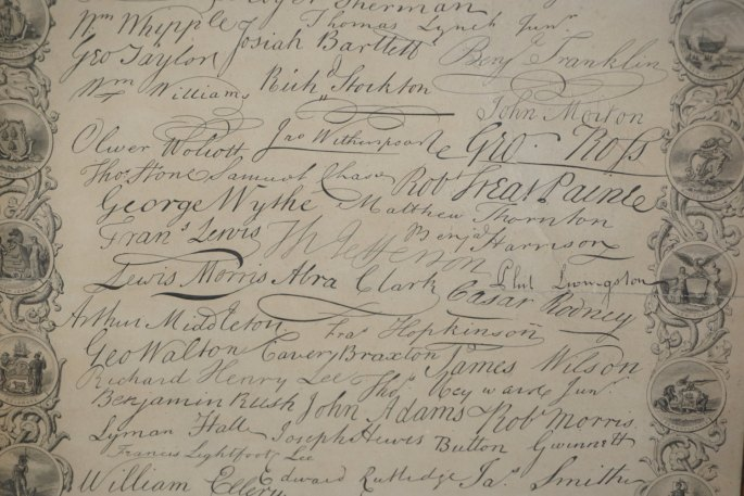 1880s Facsimile Of The Signatures To The Declaration Of Independence Steel Engraving