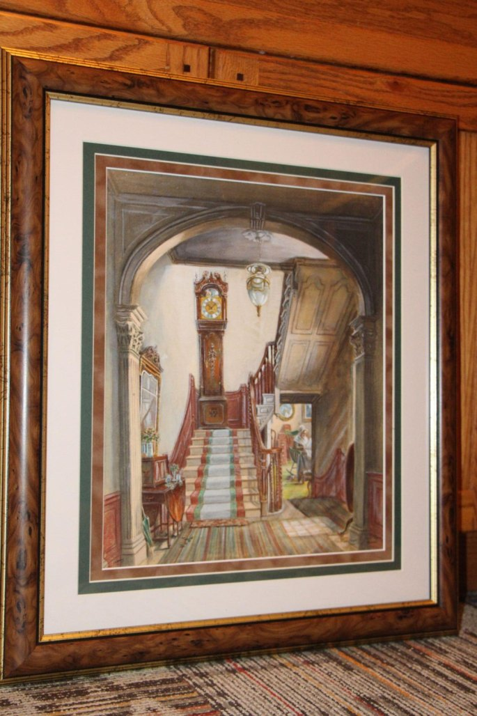 1910 Rare SIGNED Edward Lamson Henry Hand-Colored Photogravure Old Clock Stairs