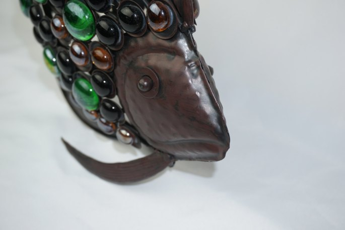 Art Deco Formed Metal Fish With Several Glass Cabochons