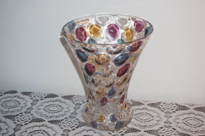 Bohemia Crystal Vase Swirled Optic Dot Coin Pastel Czechoslovakia 8 Inches