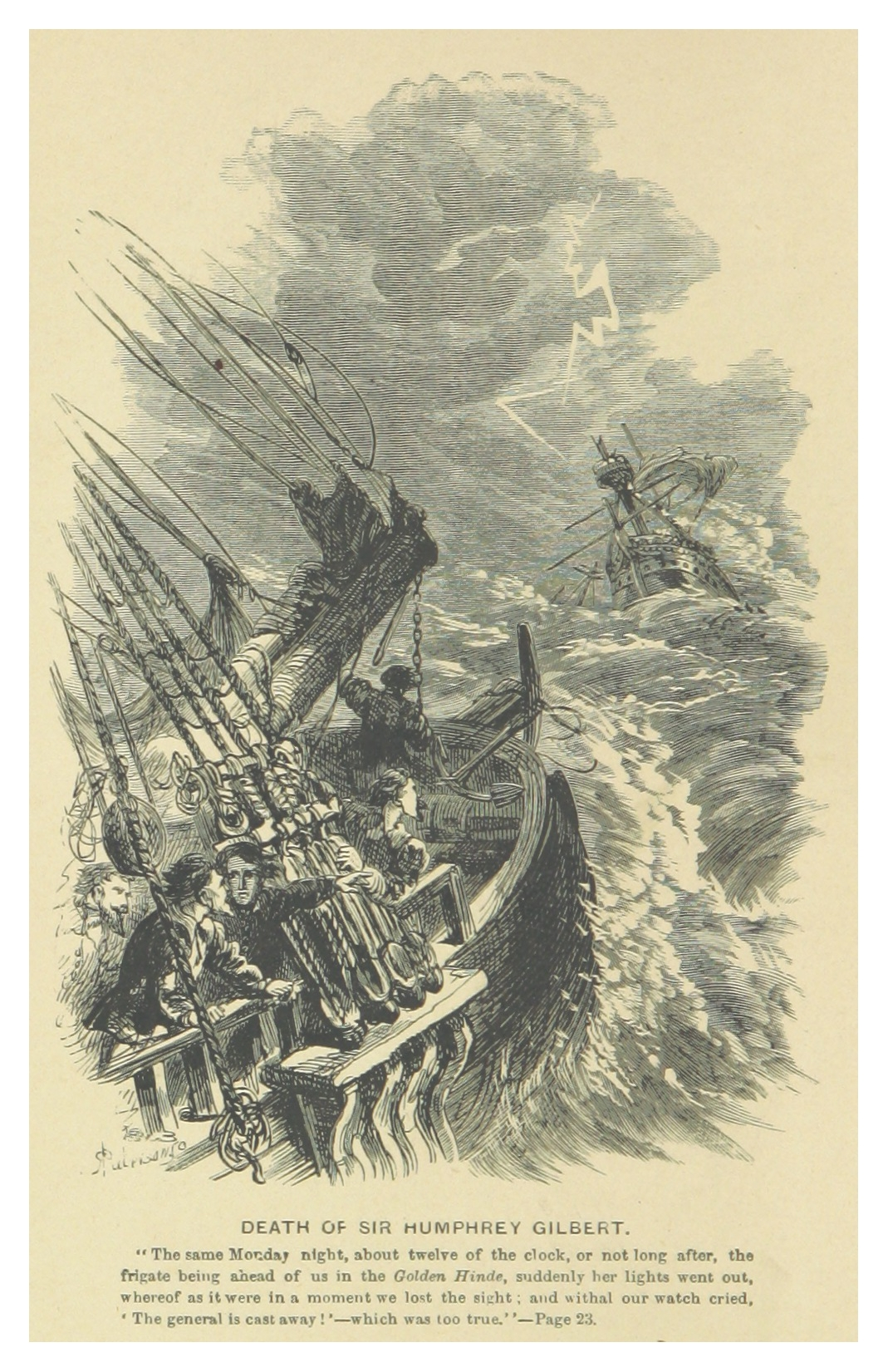 From British Enterprise beyond the Seas (Fyfe 1863) Death of Sir Humphrey Gilbert.