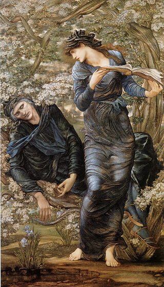 Nimue, The Lady of the Lake, shown holding the infatuated Merlin trapped and reading from a book of spells, in The Beguiling of Merlin (1872–1877) by Edward Burne-Jones