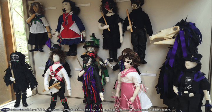 Installation view of Morris Folk figures, shown at Weald and Downland © 2016 Simon Costin, courtesy of the Museum of British Folklore.