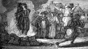 Woodcut illustration of a witch at the stake (By mullica - unknown.this file Flickr: Witch Burning, uploaded by Robert Benner (mullica), CC BY 2.0, https://commons.wikimedia.org/w/index.php?curid=15358452)