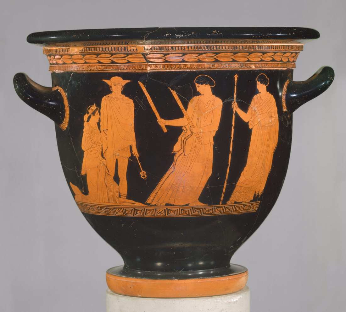 Hekate, with torches, leading Persephone from the Underworld. From a terracotta krater, attributed to the Persephone Painter, c.440 BC