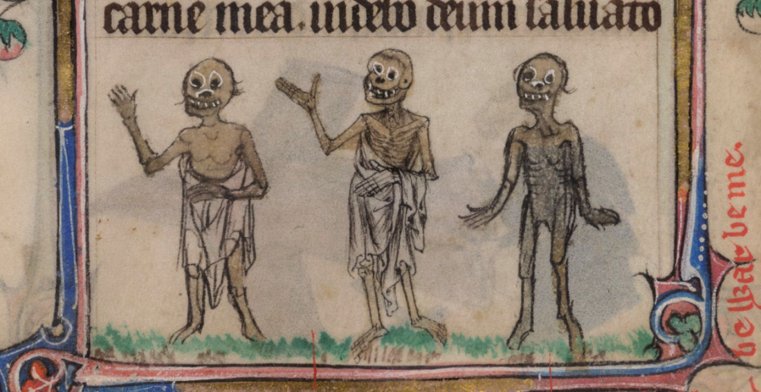 Walking corpses, from a marginalia depiction of 'The Three Living and the Three Dead'. The Taymouth Hours (C14th), British Library, Yates Thompson MS 13, fol. 180r.