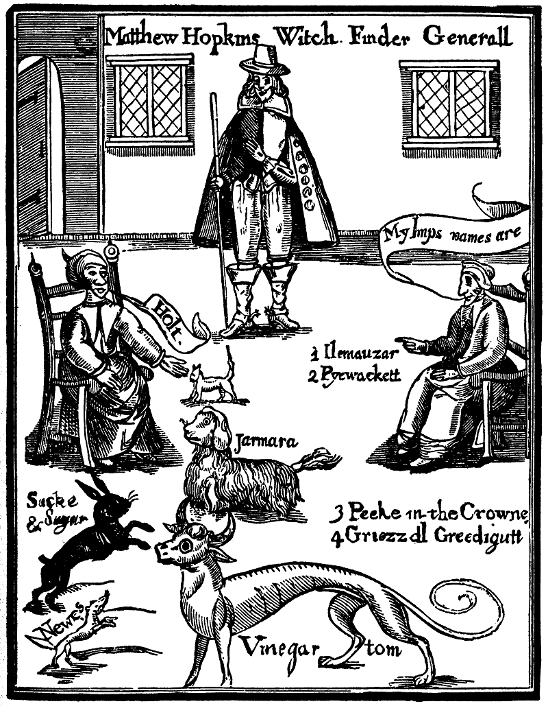 Matthew Hopkins, with two supposed witches calling out the names of their demons © Wellcome Library