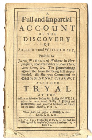 Pamphlet from the witch trial of Jane Wenham