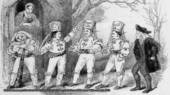 Christmas mummers from the book Christmastide, its History, Festivities and Carols, by William Sandys, 1852