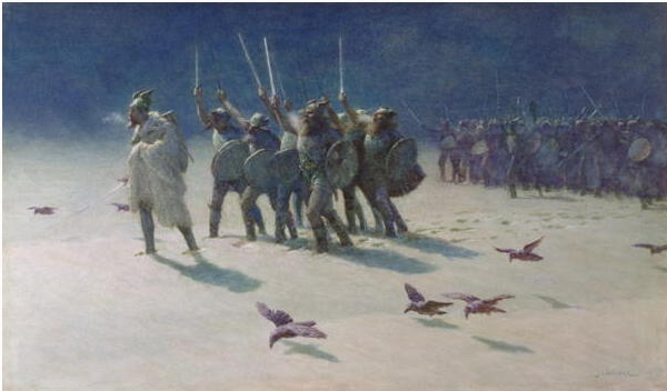 The Ravager, John Charles Dollman [Public domain], showing Vikings in cold weather.