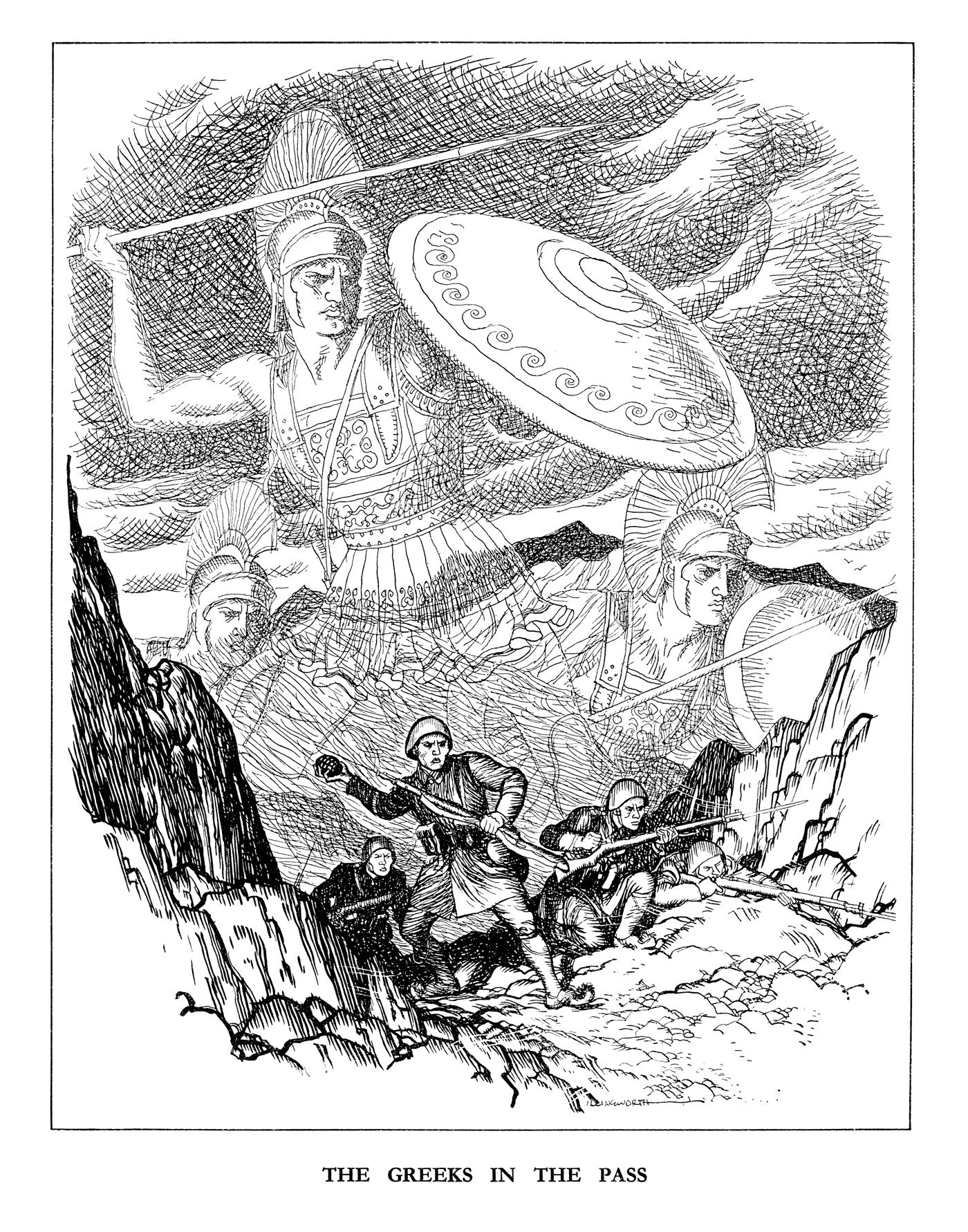 The Greeks in the Pass. Published in Punch 27 November 1940. As the Greek Army battles the Italians they are watched over by the heroic defenders of Thermopylae more than two thousand years before. By Leslie Illingworth © Punch Ltd