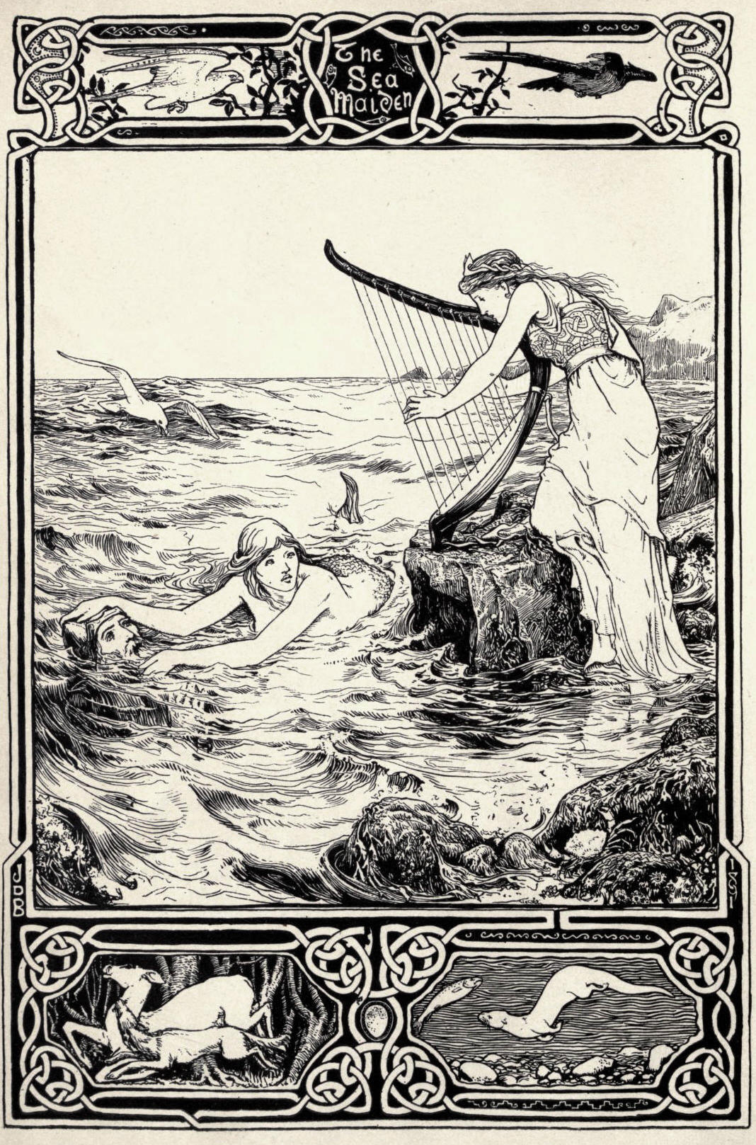 Celtic Fairy Tales: The Sea Maiden by John D. Batten https://archive.org/stream/celticfairytale00jacorich#page/n9/mode/1up
