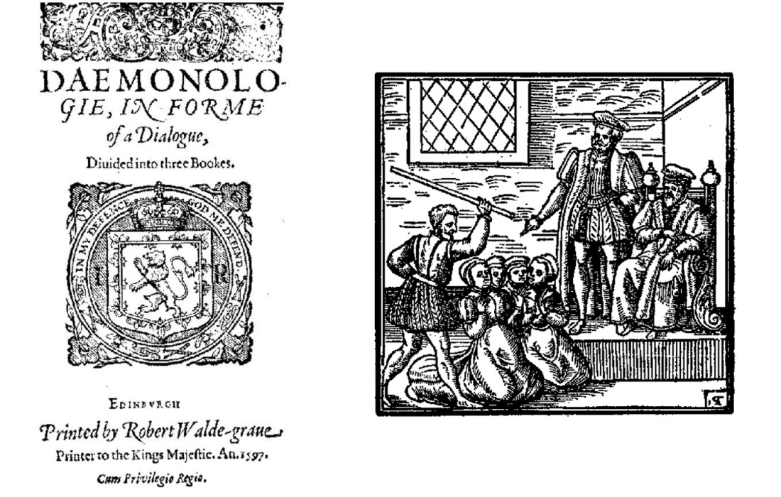 Title page of Daemonolgie, 1597, and woodcut illustration from the book showing four witches presenting their 'confessions' to King James VI of Scotland