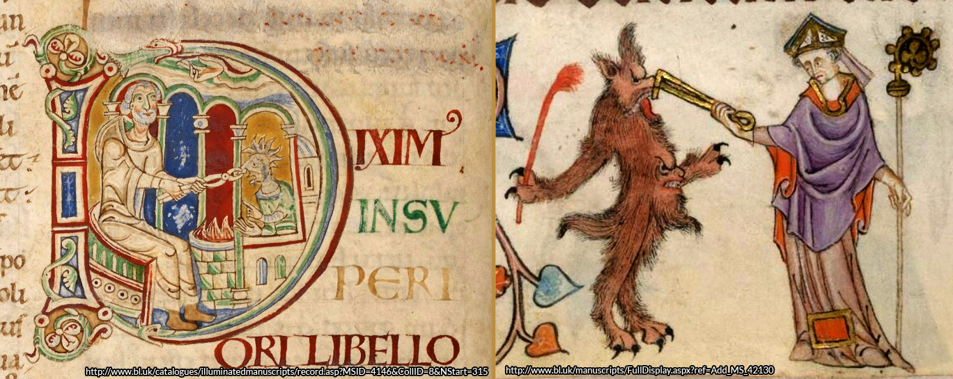 Saint Dunstan using his blacksmith's tongs to grasp the Devil's nose. As depicted in two Mediaeval manuscripts. Left, from the Harley Manuscripts and right, from the Luttrell Psalter - both courtesy British Library Digitised Manuscripts Archive. http://www.bl.uk/catalogues/illuminatedmanuscripts/welcome.htm