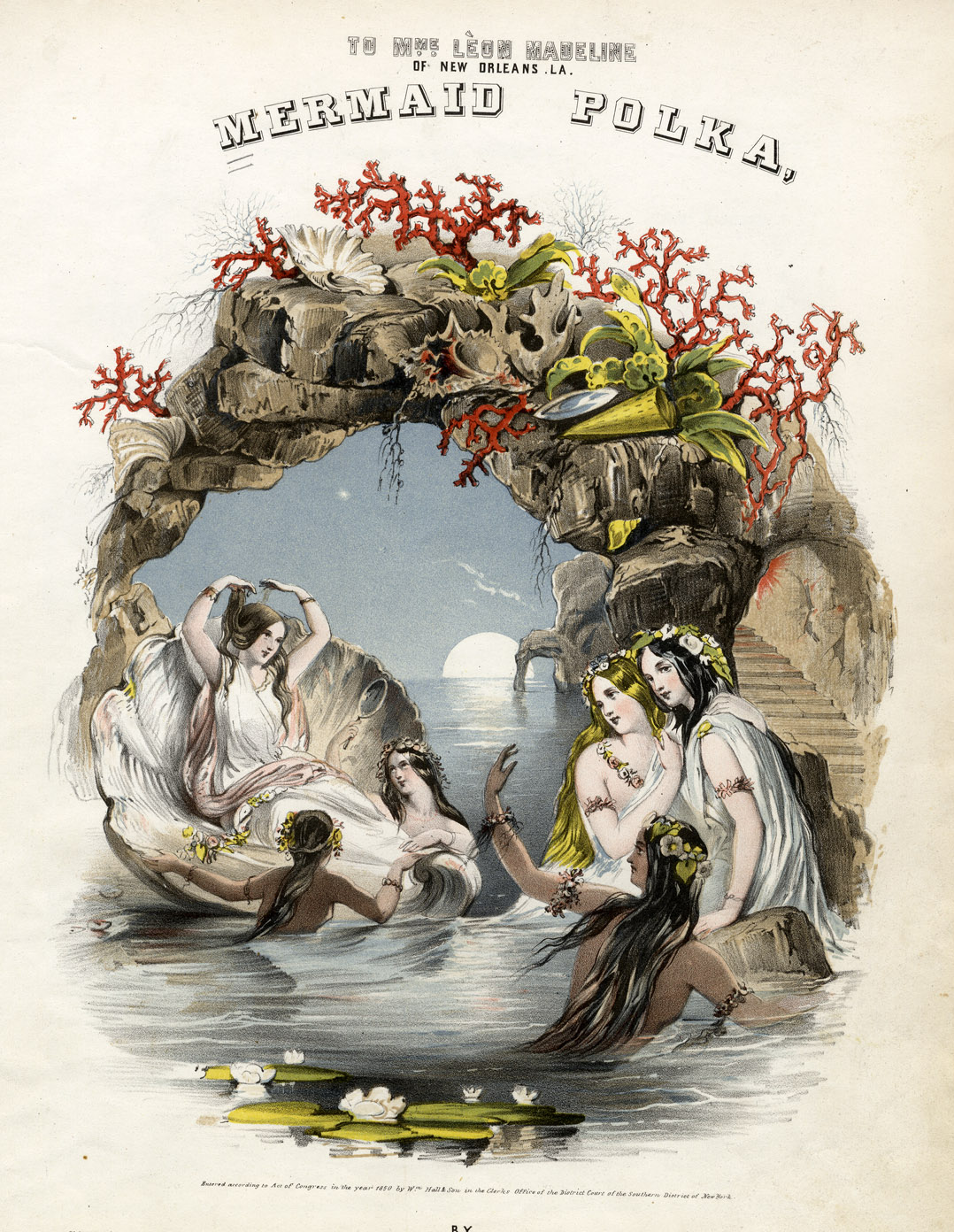 The Mermaid Polka (1850) is just one example of how public fascination with mermaids manifested itself in 19th century art, music, and literature. https://commons.wikimedia.org/wiki/File:Mermaid_Polka_art_1850.jpg