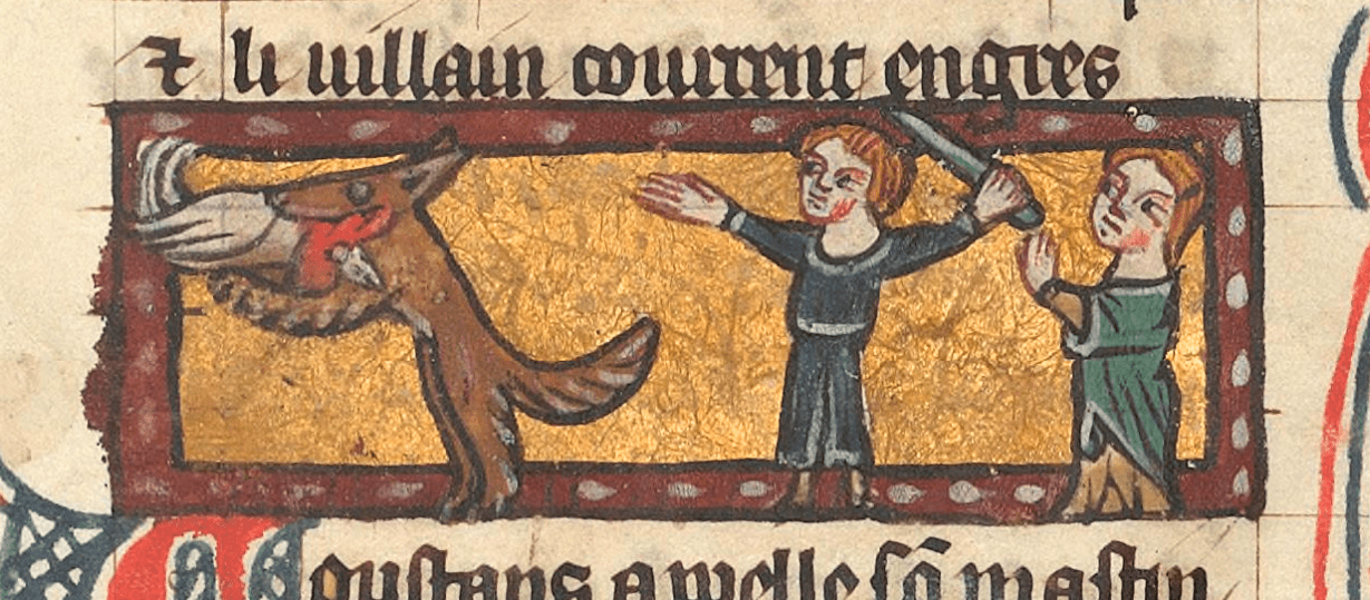 Reynard the fox is a fellow medieval trickster, who lives in the forest, causing mischief and 'poaching' the townsfolks' livestock. Walt Disney's Robin Hood later animated Robin as a fox in reference to Reynard. Roman de Renart, c. 14th, BnF, Français 12584, fol. 127. http://gallica.bnf.fr/ark:/12148/btv1b52505725s/f127