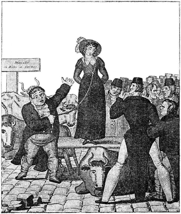 19th Century Wife-Sale in Staines Market from a Georgian Print, where the wife is shown wearing a halter. https://commons.wikimedia.org/wiki/File:Contemporary_wife_selling_print_georgian_scrapbook_1949.jpg