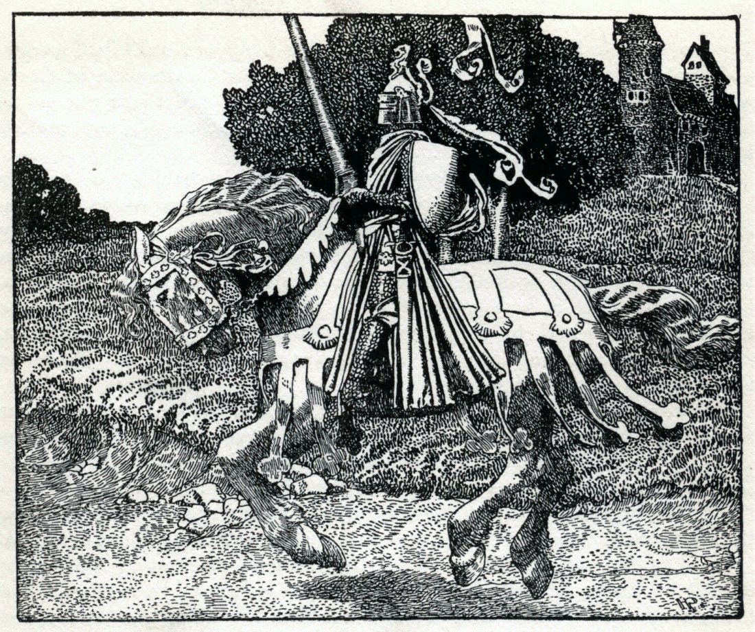 King Arthur – Illustration by Howard Pyle (1853 – 1911) https://commons.wikimedia.org/wiki/File:Arthur-Pyle_Mounted_Knight.JPG