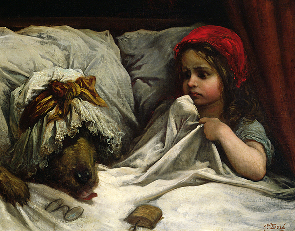Red Riding Hood sitting next to the wolf in her grandmother's bed.