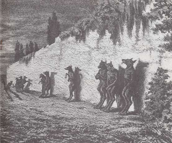 Illustration of a group of werewolves leaning against a wall.
