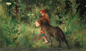 Wandering through the woods to Granny's house — Little Red Riding Hood by Carl Larsson