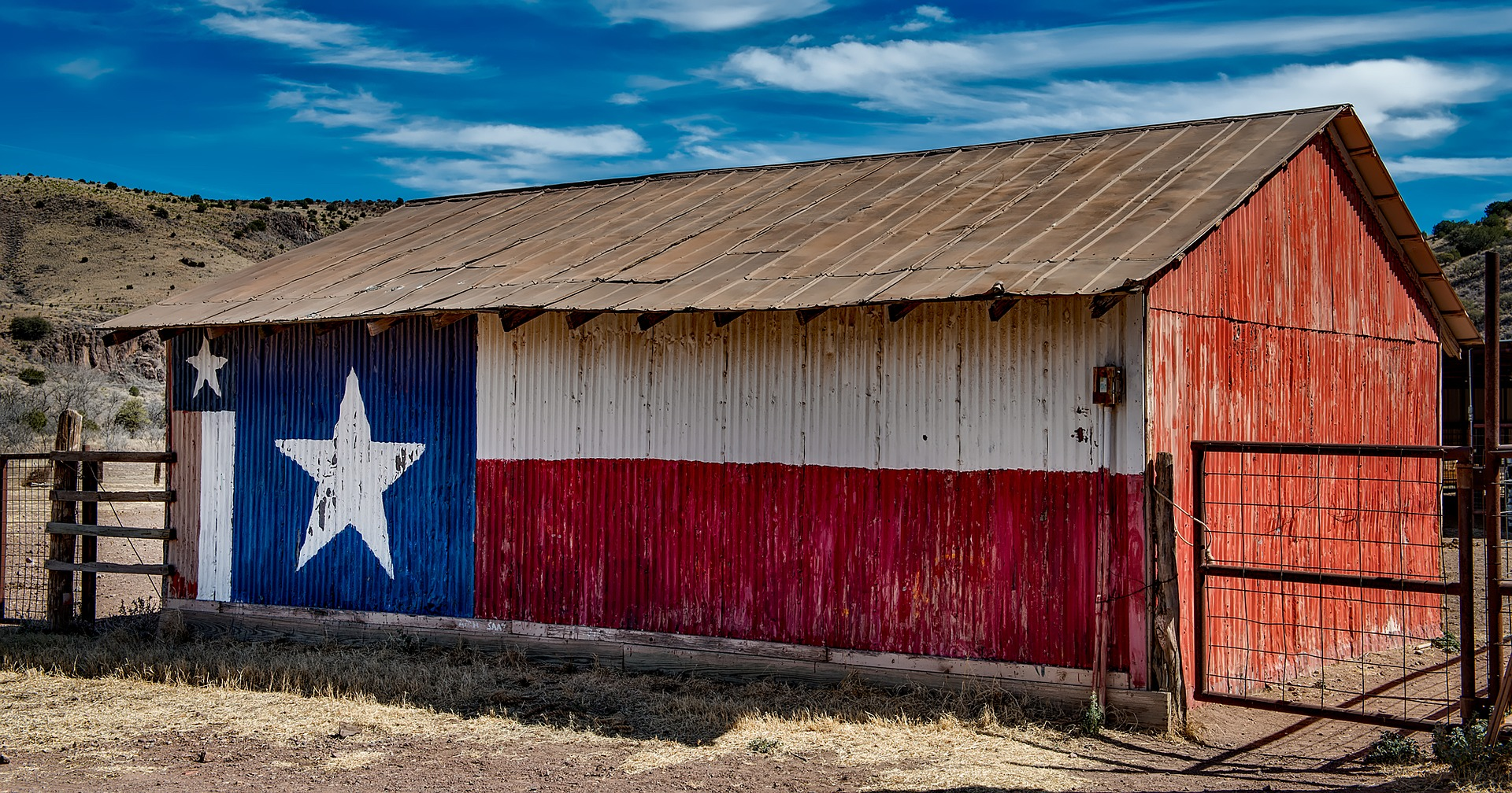 Ranch with Texas Lone Star painted on the site