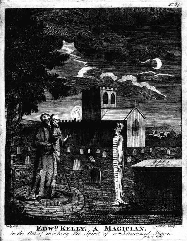 Engraving of two people under a tree summoning a spirit, who stands in white in front of them.