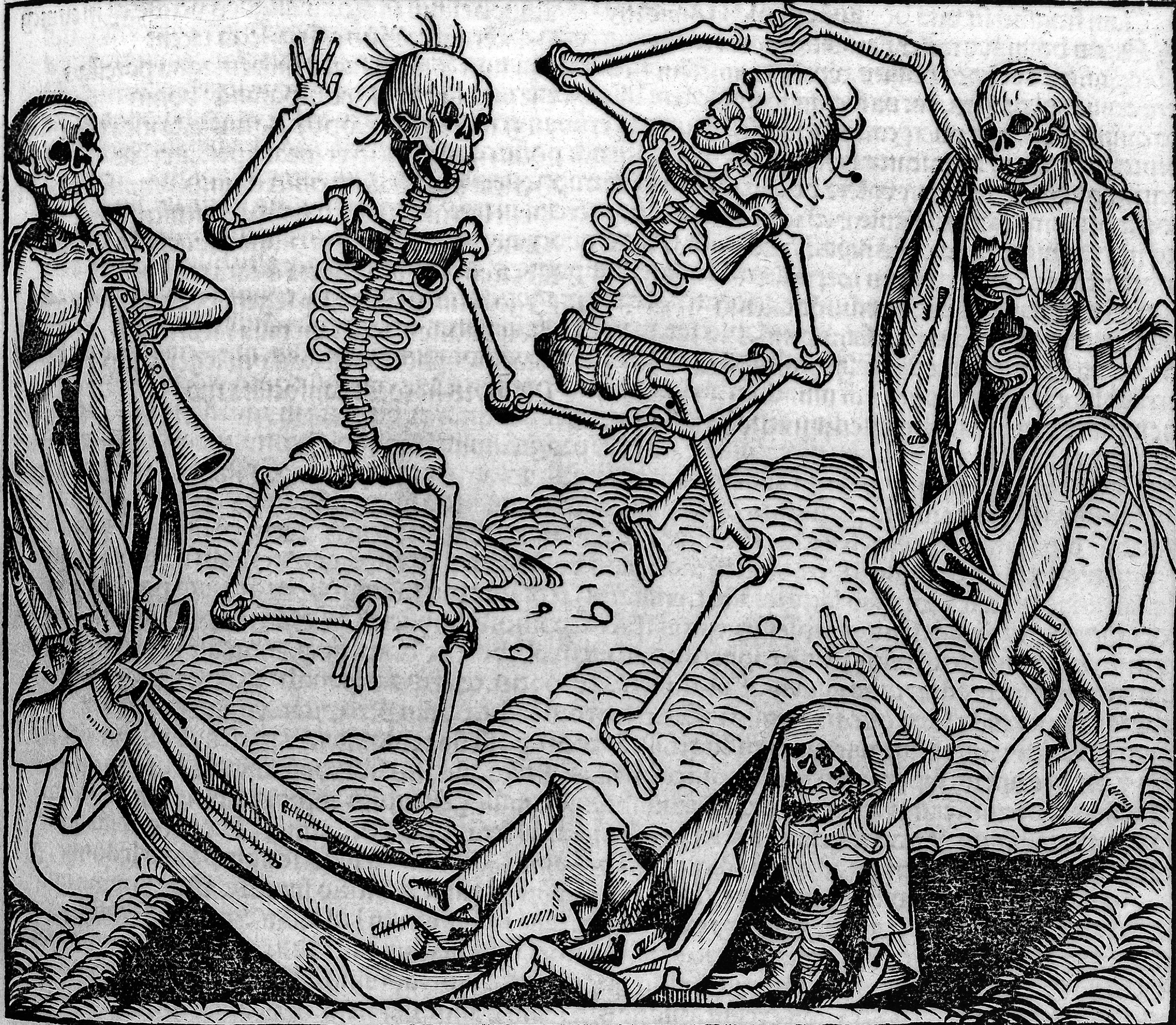 Engraving of dancing skeletons