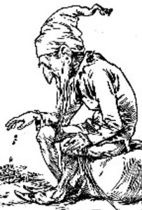 Black and white line drawing of a leprechaun counting his money.