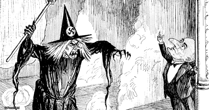 """Late for Her Entrance. The Wicked Fairy. """"I am the Fairy German Propaganda, I fill the world with lies and hate and slander. But who is this descending from the sky?"""" The Good Fairy. """"When the machine gets started, this - is - I!"""" E H Shepard © Punch Ltd http://www.punch.co.uk"""