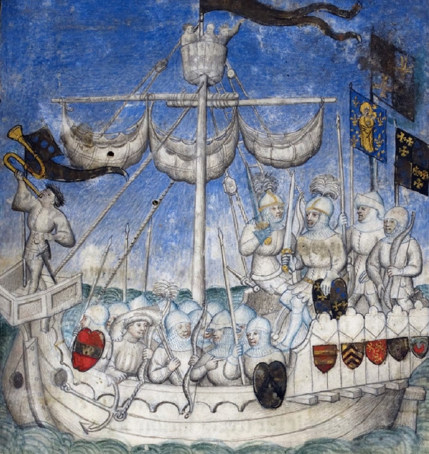 Illuminated manuscript showing a ship