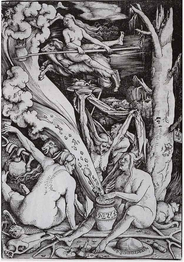 Balc and white illustration of witches, doing things witches do, like riding on goats