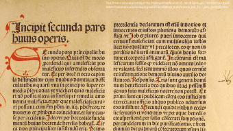 Text from a second printing of the Malleus Maleficarum Jacob Sprenger, Heinrich Institoris https://commons.wikimedia.org/wiki/File:Malleus_maleficarum_(ed._II)_-_pars_secunda.djvu