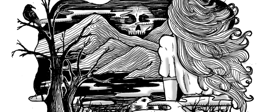 Black and white drawing of a ghostly skull over the Welsh hills
