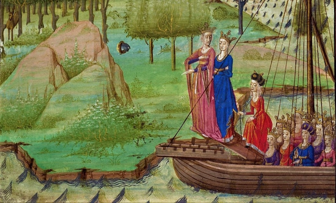 Albina and her Sisters disembarking from a boat