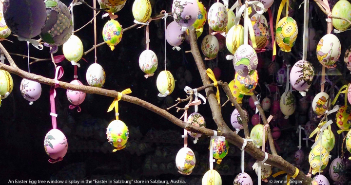 "An Easter Egg tree window display in the ""Easter in Salzburg"" store in Salzburg, Austria. © Jennie Ziegler"