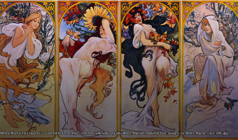Four seasons, anthropomorphized as women by Alfonse Mucha