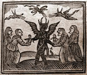 Depiction of the Devil giving magic puppets to witches, from Agnes Sampson trial, 1591. https://commons.wikimedia.org/wiki/File:Agnes_Sampson_and_witches_with_devil.jpg#/media/File:Agnes_Sampson_and_witches_with_devil.jpg