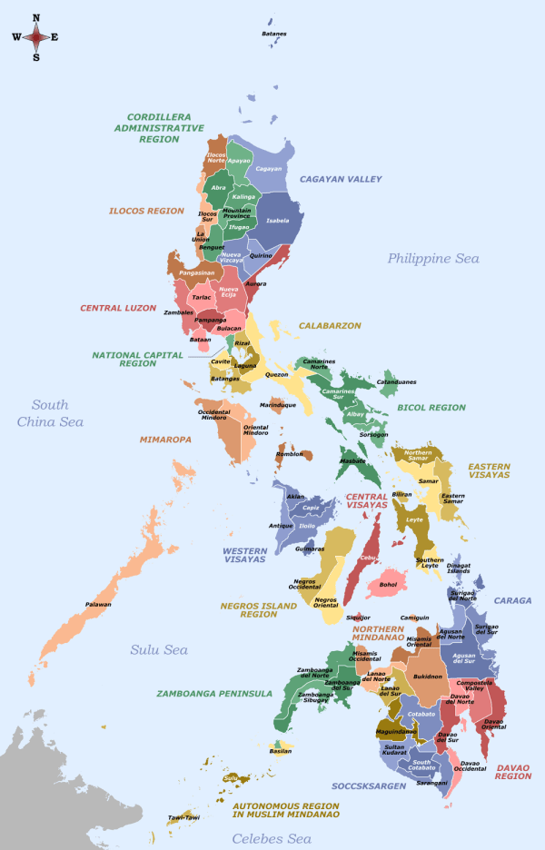 """Labelled Map of the Philippines by Sanglahi86 <a href=""""https://commons.wikimedia.org/wiki/File:Labelled_map_of_the_Philippines_-_Provinces_and_Regions.png"""" target=""""_blank"""" rel=""""noopener"""">CC BY-SA 4.0</a>"""