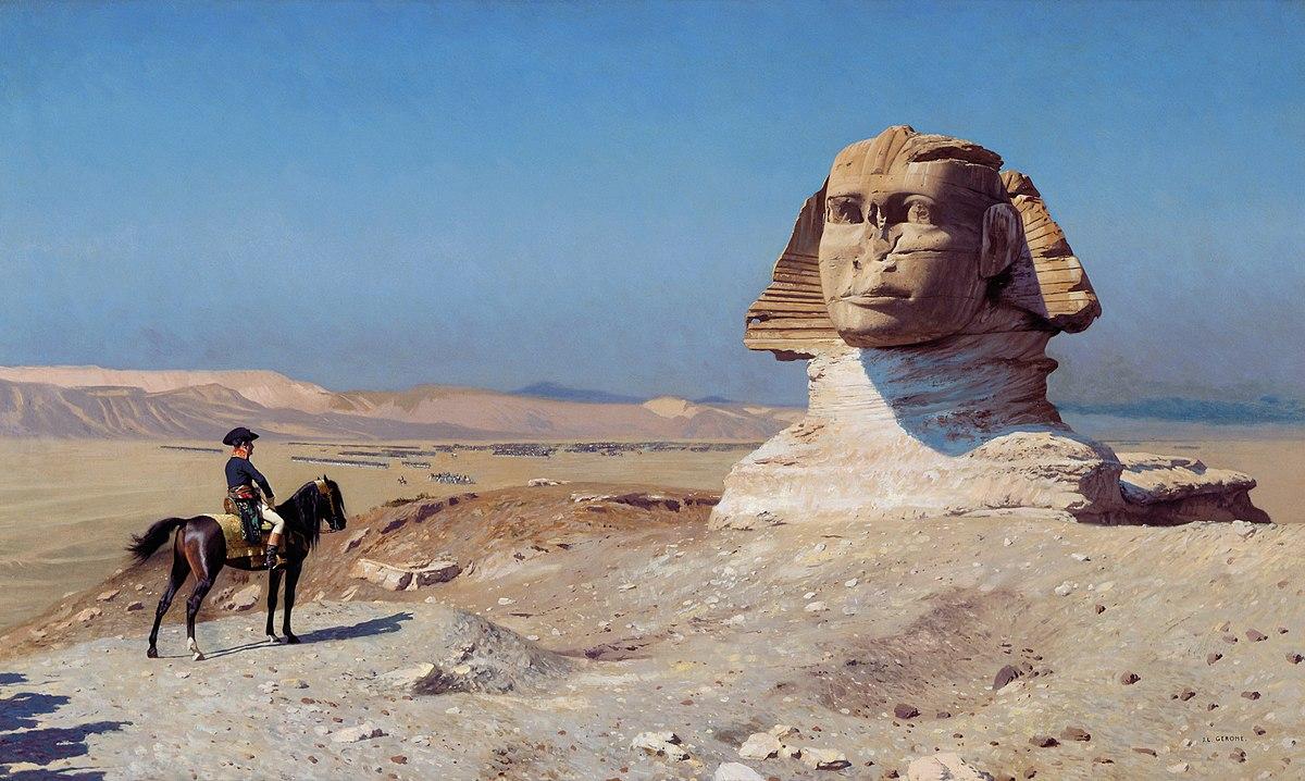 Napoleon facing the Sphinx, Jean-Léon Gérôme https://commons.wikimedia.org/wiki/Sphinx#/media/File:Jean-L%C3%A9on_G%C3%A9r%C3%B4me_003.jpg