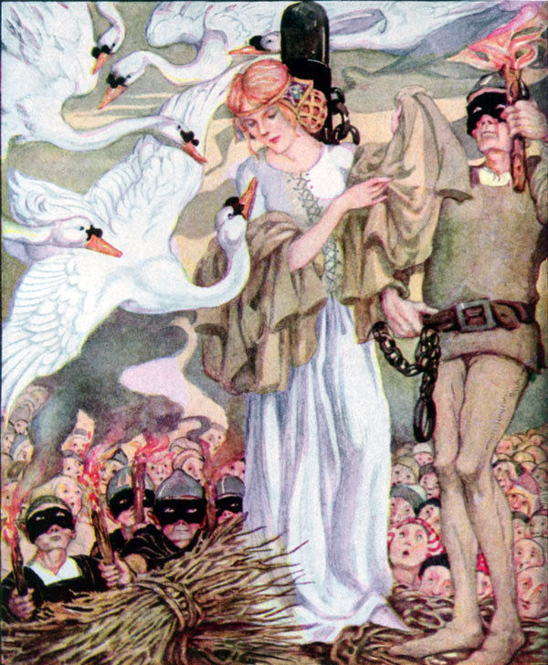 The Six Princes and their sister by Anne Anderson. Source < https://en.wikipedia.org/wiki/The_Six_Swans#/media/File:The_Swan_Princes_-_Anne_Anderson.jpg>