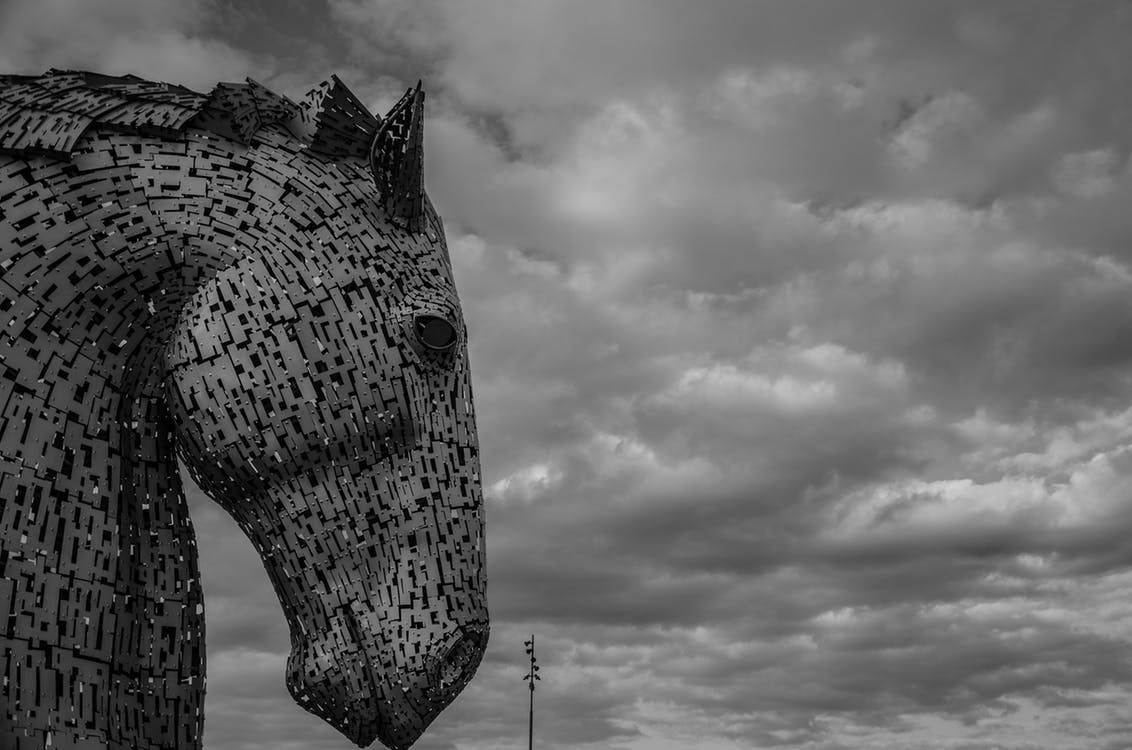 Kelpie statue by Jamie McInall https://www.pexels.com/photo/grayscale-photography-of-horse-head-and-clouds-906793/