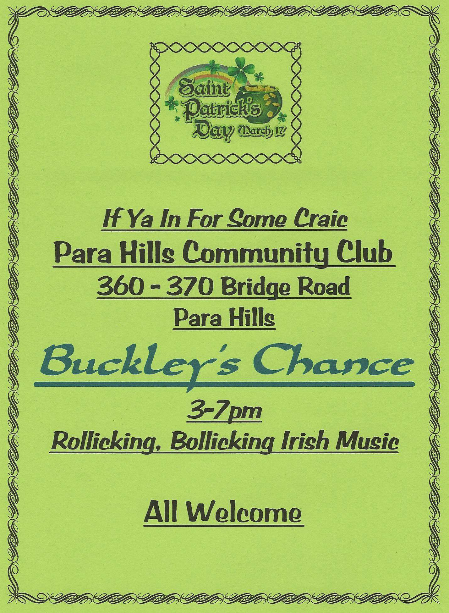 Buckleys Chance St Pats